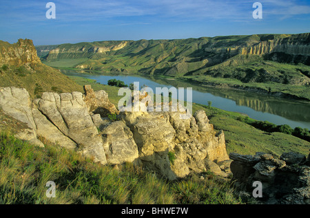 View From bluffs at Mile 65 on Upper Missouri Wild and Scenic River, Upper Missouri River Breaks National Monument, - Stock Photo