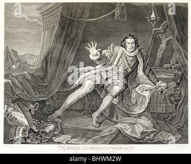 The actor David Garrick in the role of Richard III, 1746. Artist: William Hogarth - Stock Photo