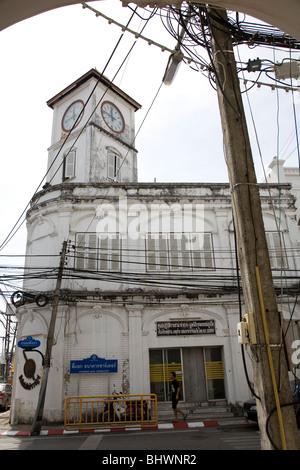 Sino-Portuguese architecture in Phuket Town - Stock Photo