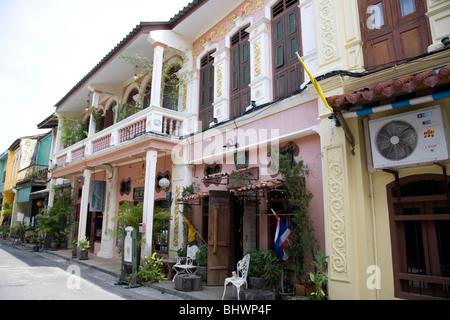 architecture and living on Soi Romanee - Phuket Town - Thailand - Stock Photo