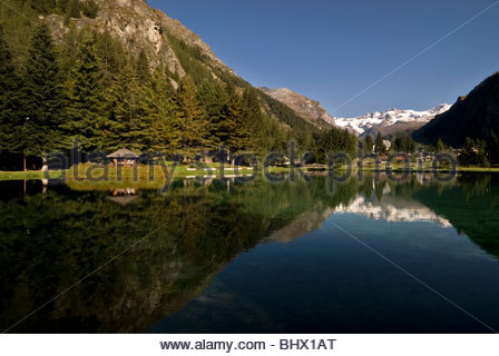 Lago Gover, Gressoney-Saint-Jean, Italy - Stock Photo