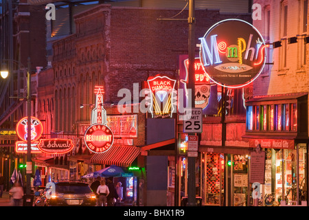 Beale Street, home of the blues, Memphis, Tennessee - Stock Photo