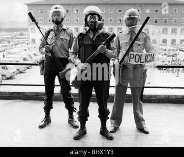 1982 World Cup Spain Spanish police in full riot gear - Stock Photo