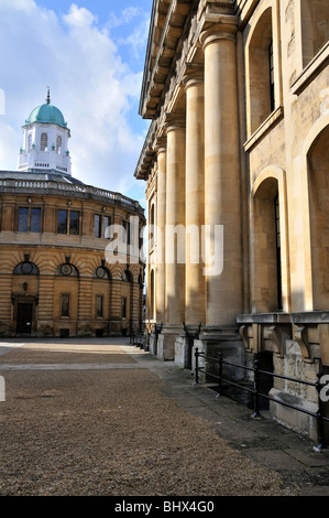 The Sheldonian Theatre (in the distance) with the Clarendon Building to the right, Oxford, England. - Stock Photo