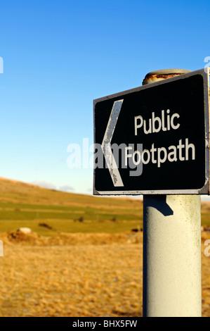 a public footpath sign on dartmoor, devon, uk - Stock Photo