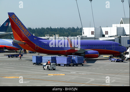 Southwest Airlines Boing 737-700  at rest by Seattle–Tacoma Airport Terminal buildings - Stock Photo