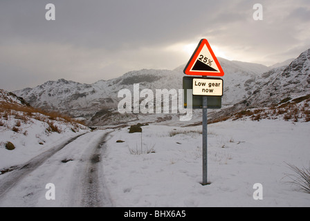 Road sign warning of 1-in-4 gradiant, Little Langdale, Lake District National Park, Cumbria, England UK - Stock Photo