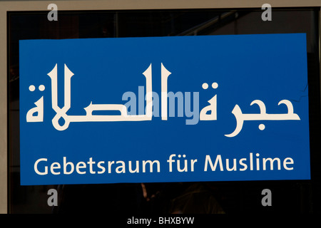 Hannover Messe 2009, the world`s most important technology event, open-air site, prayer room for muslims. Federal - Stock Photo