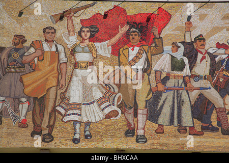 Mosaic on the facade of the National History Museum in Skanderbeg Square, Tirana, Albania - Stock Photo