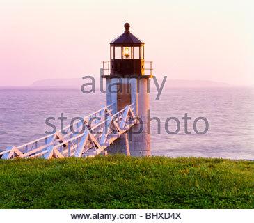 Marshall Point Light [lighthouse]. Penobscot Bay. Coastal Maine. - Stock Photo