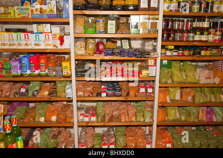 Products on the shelf at a Health Food shop store in Bungay , Suffolk , England , Britain , Uk - Stock Photo