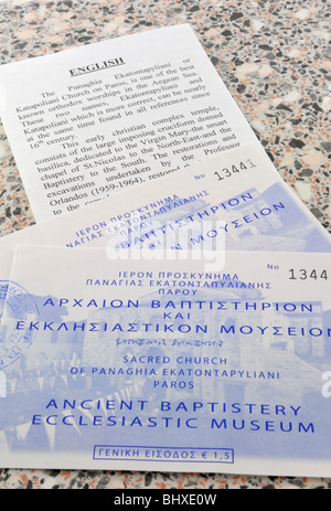 Two tickets to the Ancient Baptistery Ecclesiastic Museum and a brief guide to the museum and the Panagia Ekatontapyliani - Stock Photo