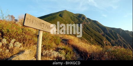 A sign on a hiking trail near Monte Dei Porri, one of two extinct volcanoes on the island of Salina, Aeolian Islands, - Stock Photo