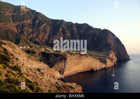 The Sicilian village of Pollara sitting in a collapsed extinct volcanic crater, on the island of Salina, Aeolian - Stock Photo