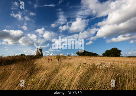 Halnaker windmill standing high up on a hilltop South Downs National Park - Stock Photo