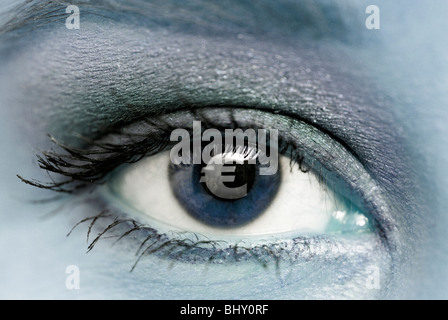 In the eye of a woman a Euro sign is reflected - Stock Photo