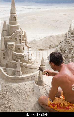 Sandcastle on the beach in Port de Alcudia on Majorca in Spain - Stock Photo