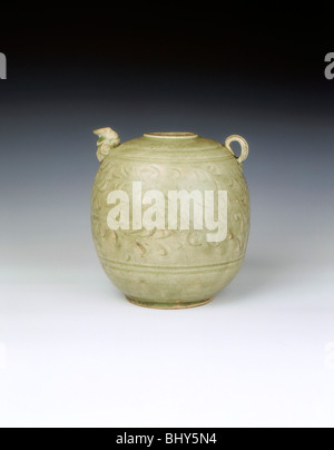 Celadon ewer with carved decoration of Yaozhou type, Vietnam, 12th-13th century. Artist: Unknown - Stock Photo