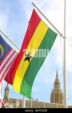 Ghana national flag national flag London - Stock Photo