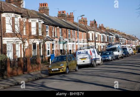 Victorian red brick terraced housing Ipswich - Stock Photo