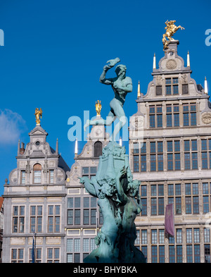 Fountain and historic buildings in Grote Markt square in Antwerp Belgium - Stock Photo