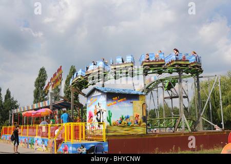 roller coaster in Serengeti Park, Hodenhagen, Germany - Stock Photo