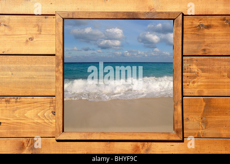 Window seascape view from wooden frame room - Stock Photo