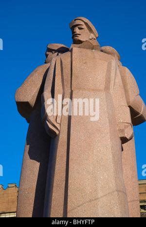 Latvian Riflemen Monument, Strēlnieku laukums , old town , Riga, Latvia - Stock Photo