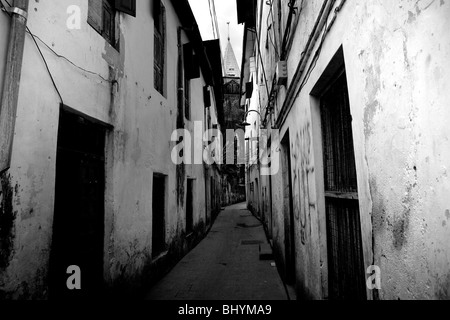 Back Street and St Joseph's Cathedral, Stone Town, Zanzibar, Tanzania, East Africa - Stock Photo