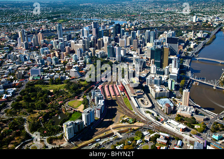 Aerial view of Brisbane central business district & Roma Street station, Australia - Stock Photo