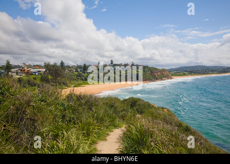view looking north along warriewood beach, one of sydneys famous northern beaches,australia - Stock Photo