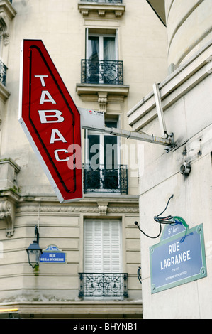Parisian Tabac on Rue Lagrange. - Stock Photo