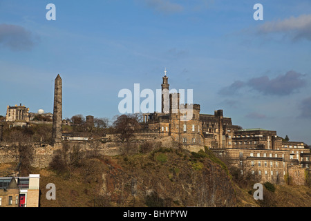 The Stewart Memorial, Hamilton's Obelisk, the Nelson Monument and the Governor's House on Calton Hill at Edinburgh - Stock Photo