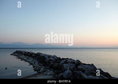 Lake Geneva (Lac Léman) in Lausanne, Switzerland - Stock Photo