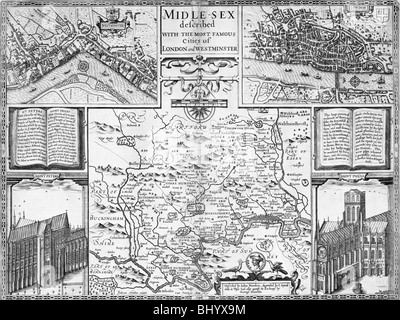 Map of London, Westminster and Middlesex, late 16th-early 17th century. Artist: John Speed - Stock Photo