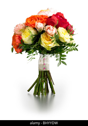 yellow red pink orange roses hand tied posy - Stock Photo