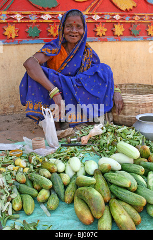 Elderly Cucumber Seller In Puri, Orissa State, India - Stock Photo