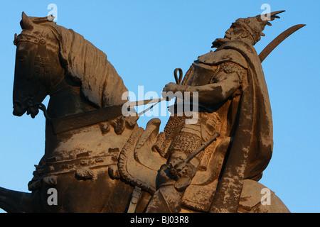 Statue of Skanderbeg, Tirana, Albania, Europe - Stock Photo