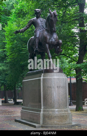 Paul Revere statue on the Paul Revere Mall, Boston, Massachusetts, United States - Stock Photo