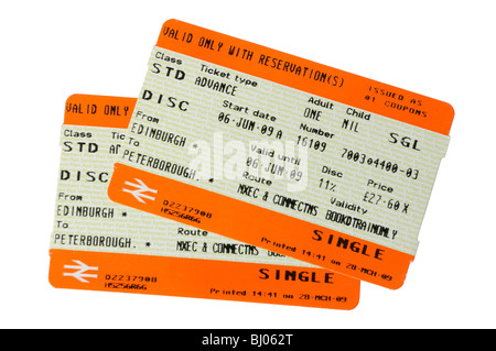 A pair of UK rail tickets - Stock Photo