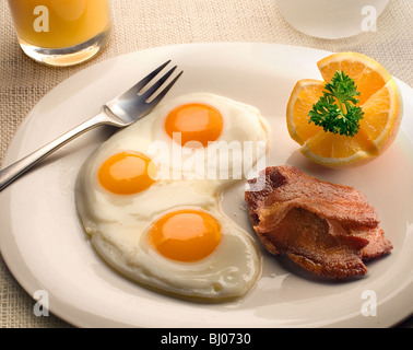 eggs with bacon - Stock Photo