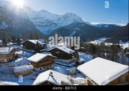 View over the centre of the resort of Les Diablerets, Vaud, Switzerland - Stock Photo