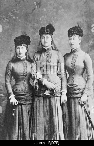 Daughters of King Edward VII; Princess Maud, Louise and Victoria of Wales, 1886. Artist: Unknown - Stock Photo