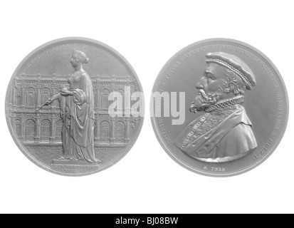 Bronze medallions of Queen Victoria and Sir Thomas Gresham, 1844. - Stock Photo