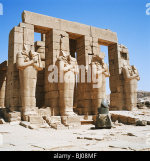The Ramesseum, Funery Temple of Ramesses II, Luxor, Old Thebes, West Bank of the Nile, Nile Valley, Upper Egypt - Stock Photo