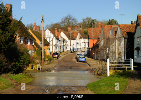 Houses lining the main street in the village of Kersey in Suffolk, England. - Stock Photo