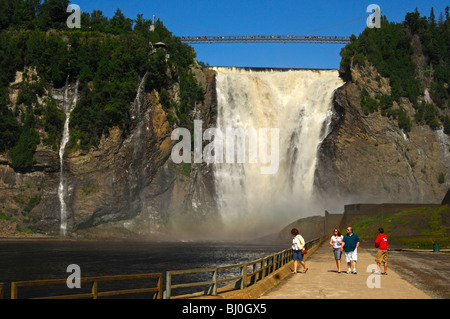 Visitors at the Montmorency Falls, Beauport, Quebec City, Canada - Stock Photo