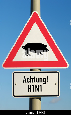 Traffic sign swine flu (assembly) - Stock Photo