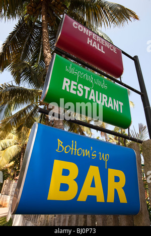 India, Kerala, Vypeen Island, Cherai Beach, seafront Bar, Restaurant and Conference Hall Signs - Stock Photo