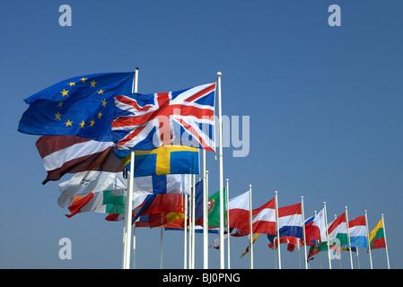 EU flag and memeber states flags, Strasbourg, France - Stock Photo